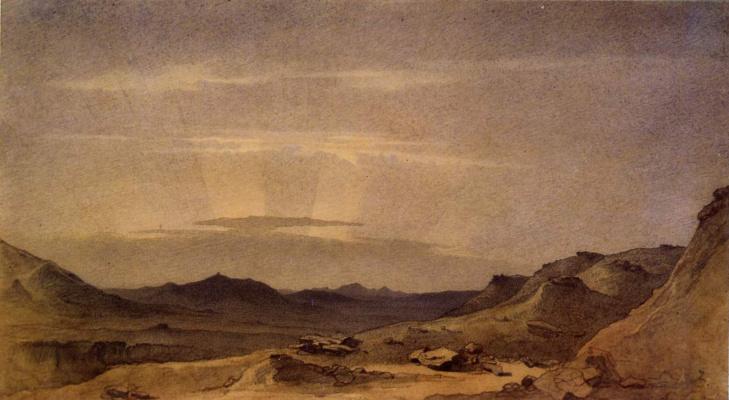 Taras Grigorievich Shevchenko. View Tau from valley apazyr. 1851