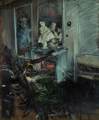 Уголок спальни художника с бюстом кардинала де Медичи.  oколо 1899