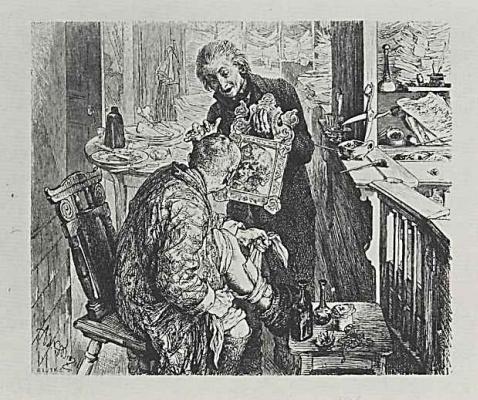 """Адольф фон Менцель. Иллюстрация к """"Разбитому кувшину"""" Генриха фон Кляйста, Писарь Лихт застаёт деревенского судью Адама забинтовывающим ногу"""