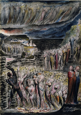 "William Blake. Souls are about to cross, Acheron. Illustrations for ""the divine Comedy"""