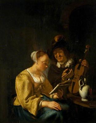 Franz van Miris the Elder. Music lesson