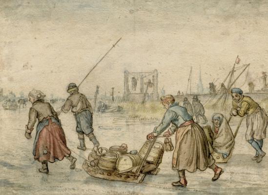 Хендрик Аверкамп. Фигуры с санками на льду
