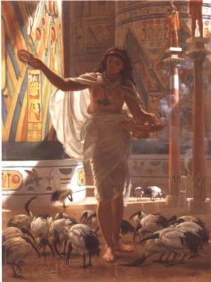 Edward John Poynter. Feeding the sacred IBIS in the halls of Karnak