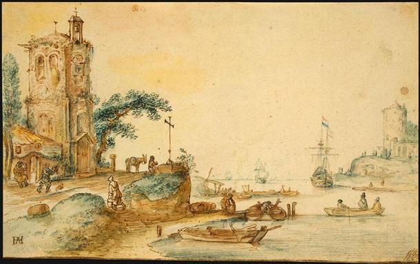 Хендрик Аверкамп. Сцена у левой башни