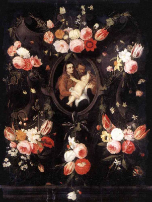 Jan van Kessel Elder. Holy family