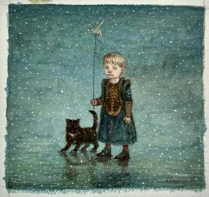 Konstantin Kalinovich. Lisa with a cat