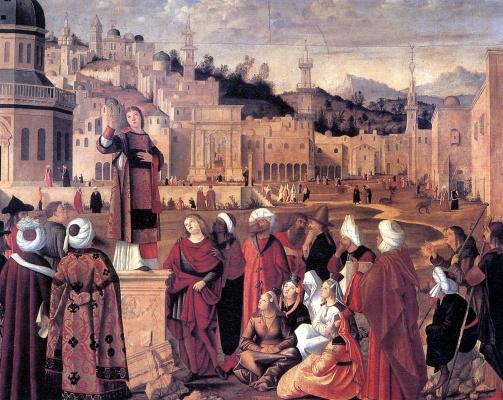 Vittore Carpaccio. Saint Stephen preaching in Jerusalem