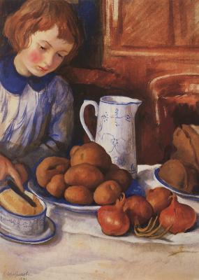 Катя у кухонного стола