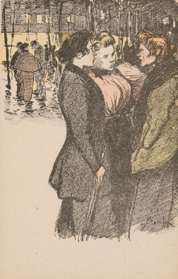 Theophile-Alexander Steinlen. Three chatting ladies