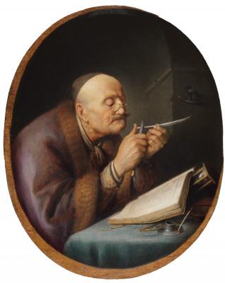 Геррит (Герард) Доу. Учёный, затачивающий перо