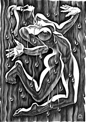 """Vladimir Kataev. """"The dance of summer rain-4"""", linocut, 65Х45, 2011"""