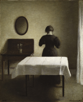 Vilhelm Hammershøi. Interior. Table with white tablecloth