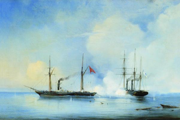 "Alexey Petrovich Bogolyubov. Battle of the steamer-frigate ""Vladimir"" with the Turkish-Egyptian military steamer ""Pervaz-Bahri"" on November 5, 1853"