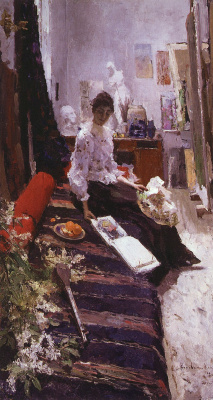Konstantin Korovin. In the artist's Studio