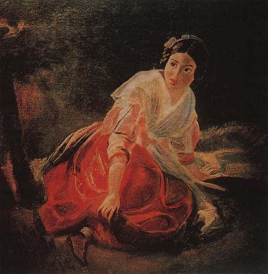 Karl Pavlovich Bryullov. The girl in the woods