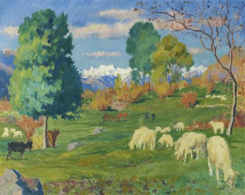 Giovanni Giacometti. Autumn landscape with grazing herd