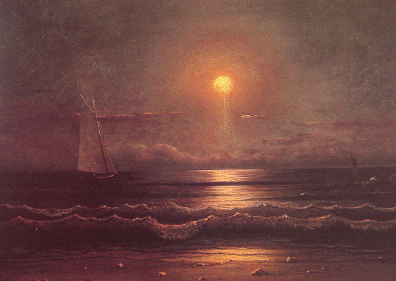Martin Johnson Head. Sailboat sailing in the moonlight