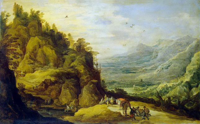 Ханс III Момпер Иос де Йорданс. Горный пейзаж с упавшим ослом