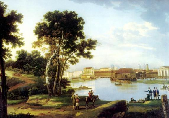 Вид с Петровского острова на Тучков мост и на Васильевский Остров в Петербурге