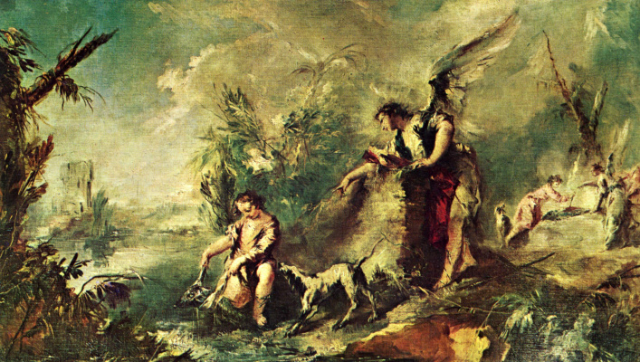 """Франческо Гварди. Цикл картин """"История Товии"""" в церкви Архангела Рафаила в Венеции. Товия ловит рыбу с Рафаилом"""