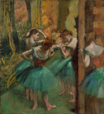Dancers in green and pink