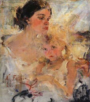 Nikolay Feshin. Mrs Fechin with her daughter.