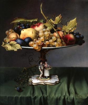 Иоганн Вильгельм Прейер. Фрукты в фарфоровой вазе. 1832