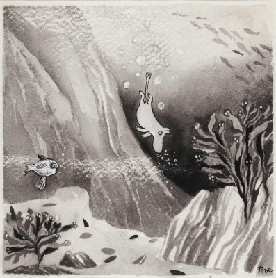 """Tove Jansson. Drawing for the book """"Moomin troll and comet"""""""