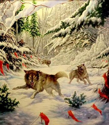 Valery Vasilyevich Litvinov. The hunt for wolves (copy Danchurova)