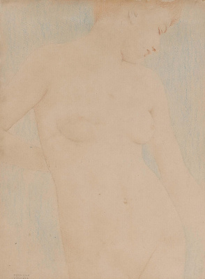 Fernand Knopf. Nude on a blue background