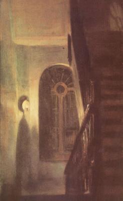 Адольф фон Менцель. Прихожая и лестница ночью