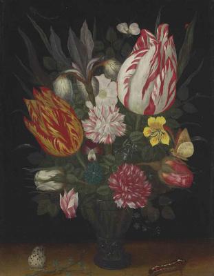 Балтазар ван дер Аст. Натюрморт с тюльпанами и другими цветами в вазе, бабочкой и гусеницей на столе
