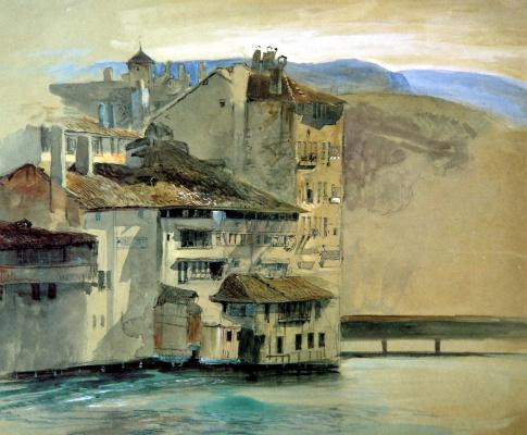 John Ruskin. Old houses on the island of Rhone, Geneva