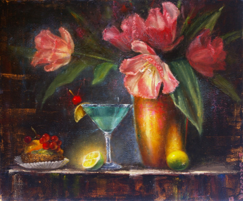 Наталия Багацкая. Still Life with Tulips and Cake