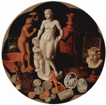 Хендрик ван дер Борх Старший. Натюрморт с коллекцией раритетов, тондо