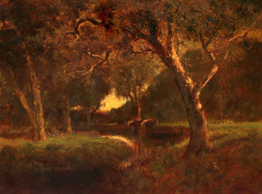 William Keith. The river in the evening