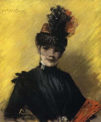 Уильям Меррит Чейз. Черное на желтом. Портрет миссис Чейз