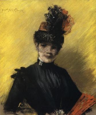 William Merritt Chase. Black on yellow. Portrait of Mrs. chase