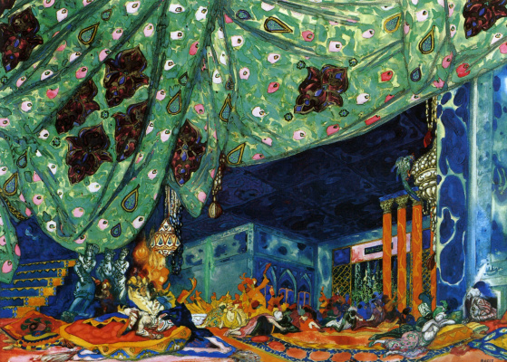 "Lev Samoilovich Bakst (Leon Bakst). The scenery for the ballet ""Scheherazade"""