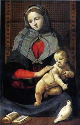 Пьеро ди Козимо. Мадонна с младенцем и с голубем