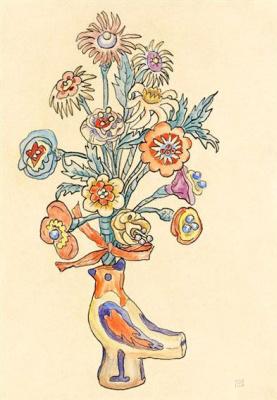 Габриель Мюнтер. Цветы в вазе-птице