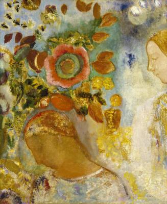 Odilon Redon. Two young girls among flowers