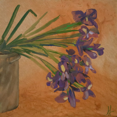 Natalia Kudryavtseva. Irises in a pot