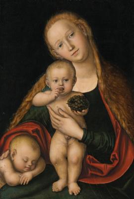 Лукас Кранах Младший. Мадонна с Младенцем и юным спящим Иоанном Крестителем.