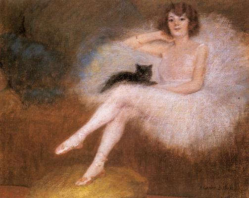 Балерина с черным котом
