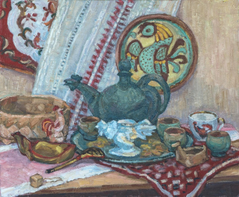 Vera Alekseevna Emelyanova. Still life with roosters