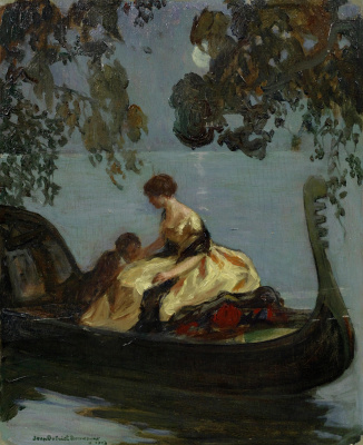 Couple in a gondola under the moon. 1913