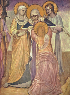 "Fra Beato Angelico. Mary is at the Cross. Fragment of the fresco ""Crucifixion and Saints"" of the Monastery of San Marco, Florence"
