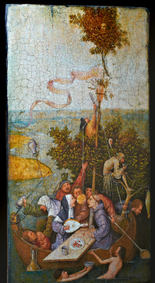 "Hiëronymus Bosch. A copy of the picture Jeroen Anthoniszoon van Aken ""Ship of fools (FR. La Nef des fous)"""