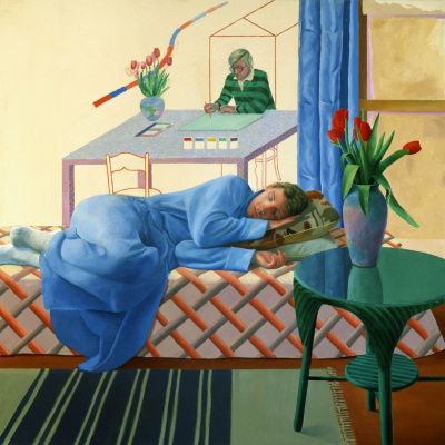 David Hockney. Model with unfinished self-portrait
